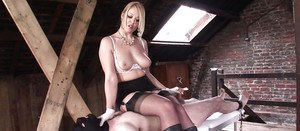 Lecherous mature femdoms have some BDSM fun with their male pets