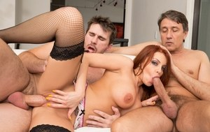 Redhead pornstar Britney Amber gets ass fucked in a MMF threesome